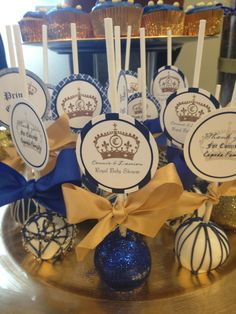 Blue and gold cake pops at a Royal Prince Baby Shower Party! See more party… Fiesta Baby Shower, Boy Baby Shower Themes, Baby Shower Decorations, Baby Boy Shower, Royal Baby Shower Theme, Royal Theme, Prince Themed Baby Shower, Gold Decorations, Shower Centerpieces