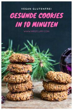 Healthy cookies in just 10 minutes!- Gesunde Cookies in nur 10 Minuten! – Mrs Flury – gesund essen & leben Healthy cookies vegan in 10 minutes bake free - Dessert Oreo, Paleo Dessert, Dessert Recipes, Pudding Desserts, Vegan Snacks, Healthy Desserts, Healthy Recipes, Desayuno Paleo, Healthy Biscuits