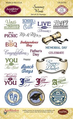 Summer Words Clear Stamp kit - perfect for Hoidays and Specail Occasions from May to August