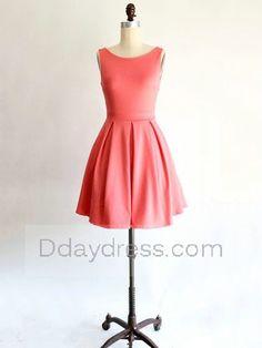 Scoop Neck Satin Mini with Bow Pretty Bridesmaid Dress Itembd0204