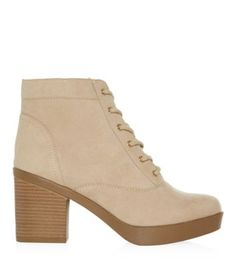 Stone Lace Up Block Heel Boots