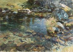 John Singer Sargent - Alpine Pool, 1907 - The Metropolitan Museum of Art Landscape Art, Landscape Paintings, Oil Paintings, Amazing Paintings, Alpine Pools, John Singer Sargent Watercolors, Gouache, Beaux Arts Paris, Oil Painting Techniques