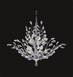 Branch of Light Design Gold or Chrome Chandelier with Clear European, Swarovski, or Amber Lead Crystals SKU# 10633 Crystal Chandelier Lighting, Chandelier Bedroom, Iron Chandeliers, Chandelier Ceiling Lights, Pendant Chandelier, Crystal Pendant, Clear Crystal, Bedroom Lighting, Decoration