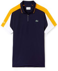 Crafted in ultra-resistant technical piqué, this Lacoste Sport Tennis polo features contrast bands along the sides, reflective accents and a zip neck. Polo Shirt Outfits, Mens Polo T Shirts, Club Shirts, Boys T Shirts, Polo Shirt Design, Polo Design, Lacoste Sport, Lacoste Men, T Shirt Sewing Pattern