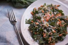 Kale Chef's Salad with Chopped Egg, Grated Carrot, and Walnuts