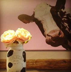 Cow decor! Welcome to my dining room! I do live on a dairy farm so it's in keeping! Lol. Cow print and pink! Animal print. Jar vase available from www.theshabbychicgeek.co.uk #mason jar #kilner jar #jarcraftideas