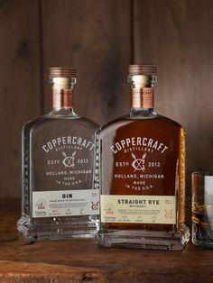 Coppercraft Distillery Spirits & Canned Cocktails Whiskey Bottle, Vodka Bottle, Whiskey Label, Whiskey Brands, Label Design, Branding Design, Package Design, Whisky, Cocktails