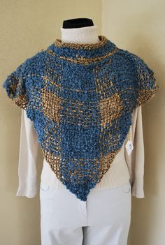 Free Shipping, NEW Hand Woven Shawl capelet shrug vest brown and blue wool / women / teenagers via Etsy Potholder Loom, Capelet, Weaving Techniques, Blue Wool, Knitted Shawls, Handmade Crafts, Hand Knitting, Hand Weaving, Knit Crochet