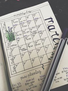 March bullet journal page