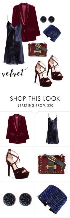 """""""Velvet"""" by riverarican ❤ liked on Polyvore featuring MANGO, Fleur du Mal, Jessica Simpson, Prada, Ariella Collection and Swarovski"""