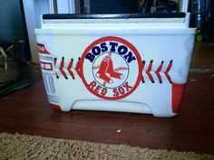This is so cute and detailed!! Perfect for that Sox fanatic in your life :)  Boston Red Sox baseball stitching cooler  ~The Cooler Connection on facebook
