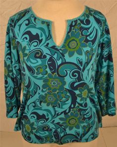 Tee Co. Size Large 100% Cotton Cut Neck Pull Over Blouse