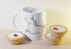 Unicorn mug hand illustrated quirky animal by WooodlandFactory