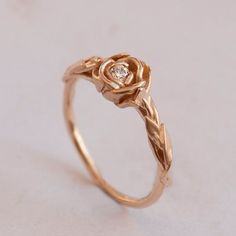 Rose Engagement Ring No.2 - 14K Rose Gold and Diamond engagement ring, engagement ring, leaf ring, flower ring, antique, art nouveau,vintage...