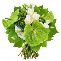 Ce bouquet se compose de 3 Anthuriums verts, 3 Roses blanches, 2 Lisianthus blancs, 2 Hypéricums verts et de son feuillage.