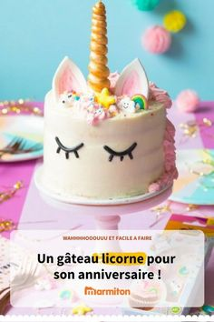 Unicorn cake decorated by Vahine. The perfect cake for a birthday (and for unicorn fans ! Raspberry Smoothie, Apple Smoothies, Kreative Desserts, Ricotta Cake, Number Cakes, Salty Cake, Savoury Cake, Mini Cakes, Clean Eating Snacks