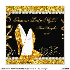 Glitz and Glam Adult Birthday Party Invitation by AnnounceItFavors