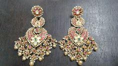 India Jewelry, Pearl Jewelry, Antique Jewelry, Gold Jewelry, Jewelery, Traditional Indian Jewellery, Traditional Earrings, Indian Wedding Jewelry, Bridal Jewelry