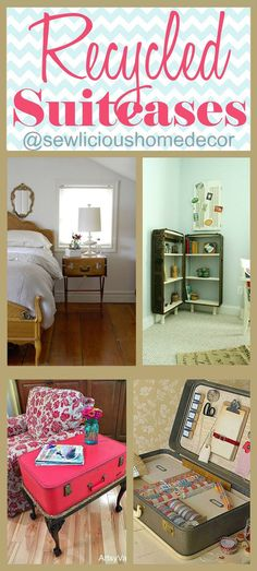 Recycled DIY Suitcases and Trunks to furniture and more! @  sewlicioushomedecor.com