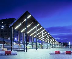 Liverpool One Interchange by Wilkinson Eyre. Shame about the hideous plastic barriers. Steel Structure Buildings, Landscape Structure, Landscape Architecture, Bus Stop Design, Liverpool One, Parking Building, First Bus, Shelter Design, Bus Terminal