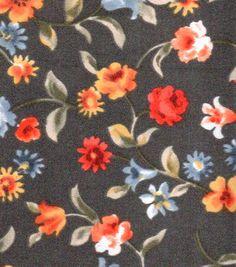 Simply Silky Prints- Medium Flower Stems Multi On Black Charm
