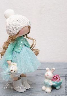 Коллекционные куклы ручной работы. Ярмарка Мастеров - ручная работа. Купить Малышка Оливия. Handmade. Мятный, текстильная кукла, фатин