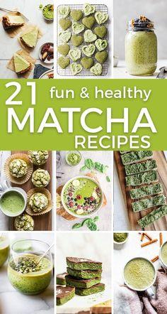 Healthy Matcha Recipes –gluten free options, paleo friendly and vegan recipes too. #matcharecipes #matcha #greentea