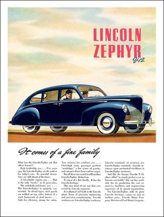 "1940 Lincoln Zephyr Ad ""It comes of a fine family"""
