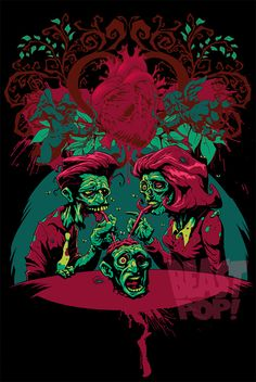 Pop couple zombie halloween artwork illustration