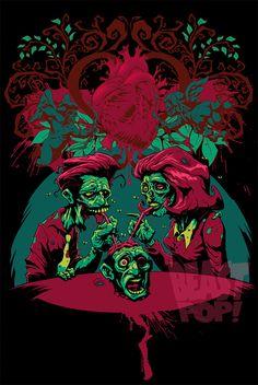 Pop couple zombie halloween artwork illustration