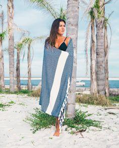 Navy Blue Diamond Beach Towel from https://thebohemianshop.com