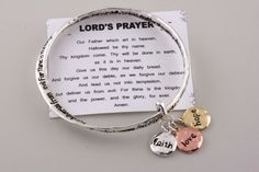 """Religous & Inspirational, Designer Inspired Gold & Silver, Lords Prayer Silver Tone Stretch Bracelet, """"Our Father.."""" with Faith Hope & Love Charms Hail Mary Gifts, http://www.amazon.com/dp/B0096CEGPS/ref=cm_sw_r_pi_dp_fAoVqb09QT1FM"""