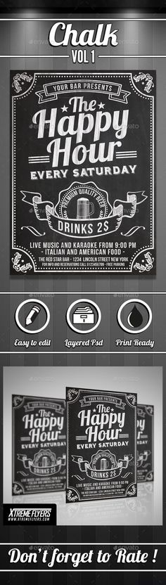 Happy Hour Chalkboard Flyer - Clubs & Parties Events
