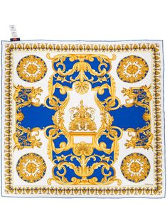 Shop white & yellow Versace Barocco-print silk scarf with Express Delivery - Farfetch Royal Blue And Gold, Blue Gold, Batman Book, Baroque Pattern, Print Finishes, Ivory White, White Shop, Scarf Styles, Versace