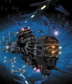 EA capitol ship and fighters emerge from a hyperspace gate. Spaceship Art, Spaceship Design, Arte Sci Fi, Sci Fi Art, Star Wars Art, Star Trek, Stargate, The Expanse Ships, Starship Concept