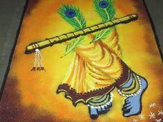 Shree Krishna Janmashtmi Special Rangoli - Shree Krishna Muggulu - Kolam - Created By Latest Rangoli Simple Rangoli Designs Images, Rangoli Designs Latest, Rangoli Designs Flower, Latest Rangoli, Rangoli Patterns, Rangoli Ideas, Rangoli Designs Diwali, Beautiful Rangoli Designs, Kolam Designs
