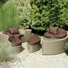 Napoleon Roma 8-person Patio Conversation Set - Seagrass by Napoleon. $2999.00. Spun polyester cushions are stain and fade resistant. Set Includes: 2 Sofas, Ottoman, Brown Cushions. Frame and wicker are UV protected to prevent fading. Hand-woven all weather synthetic wicker will not crack or peel. Powder coated aluminum frame is rust resistant. Napoleon Roma 8-Person Patio Conversation Set - Seagrass. ROMA. Wicker Patio Conversation Sets. With the Napoleon Roma collection patio...