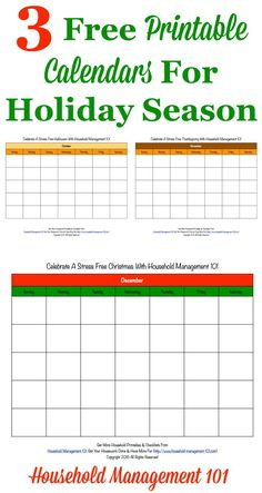 Here are 3 free printable holiday calendars, for Halloween, Thanksgiving, and Christmas, that you can use for planning while doing the Stress Free Holidays Challenge this year {courtesy of Household Management 101}