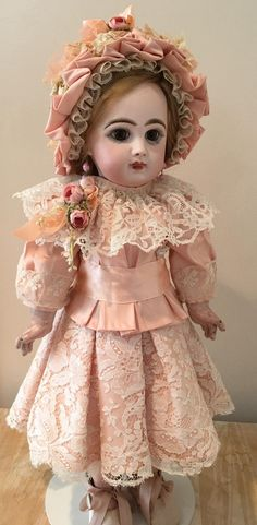 "Antique Peach Silk and Lace Dress with Bonnet for a 19"" Antique French or German Doll"