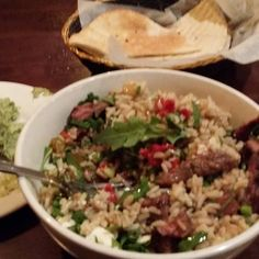 Post heavy back day fuel: Steak and rice bowl plus pita and California hummus at Pita Grill in Hoboken. I love the iron game! #animalbarbellclub #powerbuilding #bodybuildinglifestyle