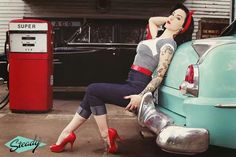 @Nikki Dimmock - We need to find an old done up car and do this with Teags... she is more the 'pin up' style at the moment!!