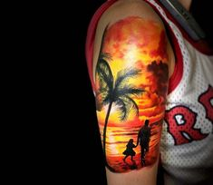 Sunset tattoo by Lucian Toro