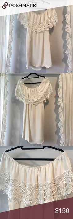 Stone Cold Fox Lace Off Shoulder BONITA Dress See last pic for details.   REPOSH from wonderful seller. Just found something else for wedding rehearsal dinner ☺️.   Fits size Small/Medium. SCF size 1 (see stone cold fox website for sizing details if desired). In Like New Condition as worn 1x by prior Posher and 0x by me except to try on. Stone Cold Fox Dresses Strapless