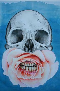 #skull #art #beautiful #dead #sad #black and white #depression #skeleton