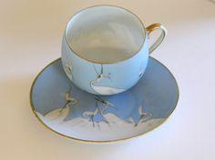 Sky Blue Japanese Porcelain Set - Egret Bird