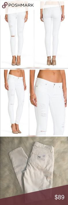 Paige Verdugo Ultra Skinny Jeans Paige verdugo ultra skinny destructed jeans in optic white new with tags, never been worn. PAIGE Jeans Skinny