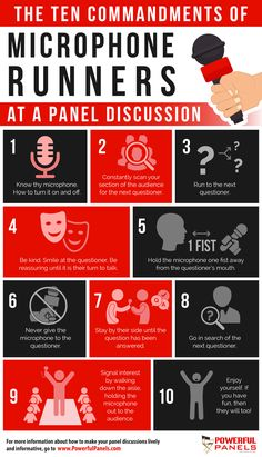 Professional panel moderator Kristin Arnold shares a number of tips for microphone runners to do their job well during a panel discussion. Know Thyself, 10 Commandments, Writing Numbers, Communication Skills, When Someone, Infographics, Runners, Conference, Boss
