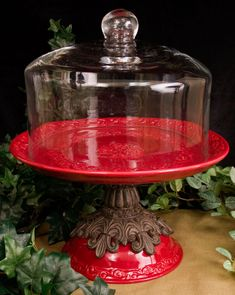 Red Multi-Function Cake Pedestal with Glass Dome - Special Order $241.00
