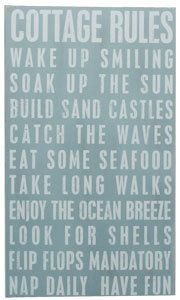 Cottage Rules Handpainted Wood Sign Beach House Decor Wall Hanging Art Ocean. $65.00, via Etsy.