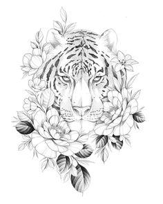 막내 호랑이🐅🐅 Tatoo Tiger, Tiger Tattoo Sleeve, Tiger Tattoo Design, Sleeve Tattoos, White Tiger Tattoo, Animal Sketches, Art Drawings Sketches, Tattoo Sketches, Animal Drawings